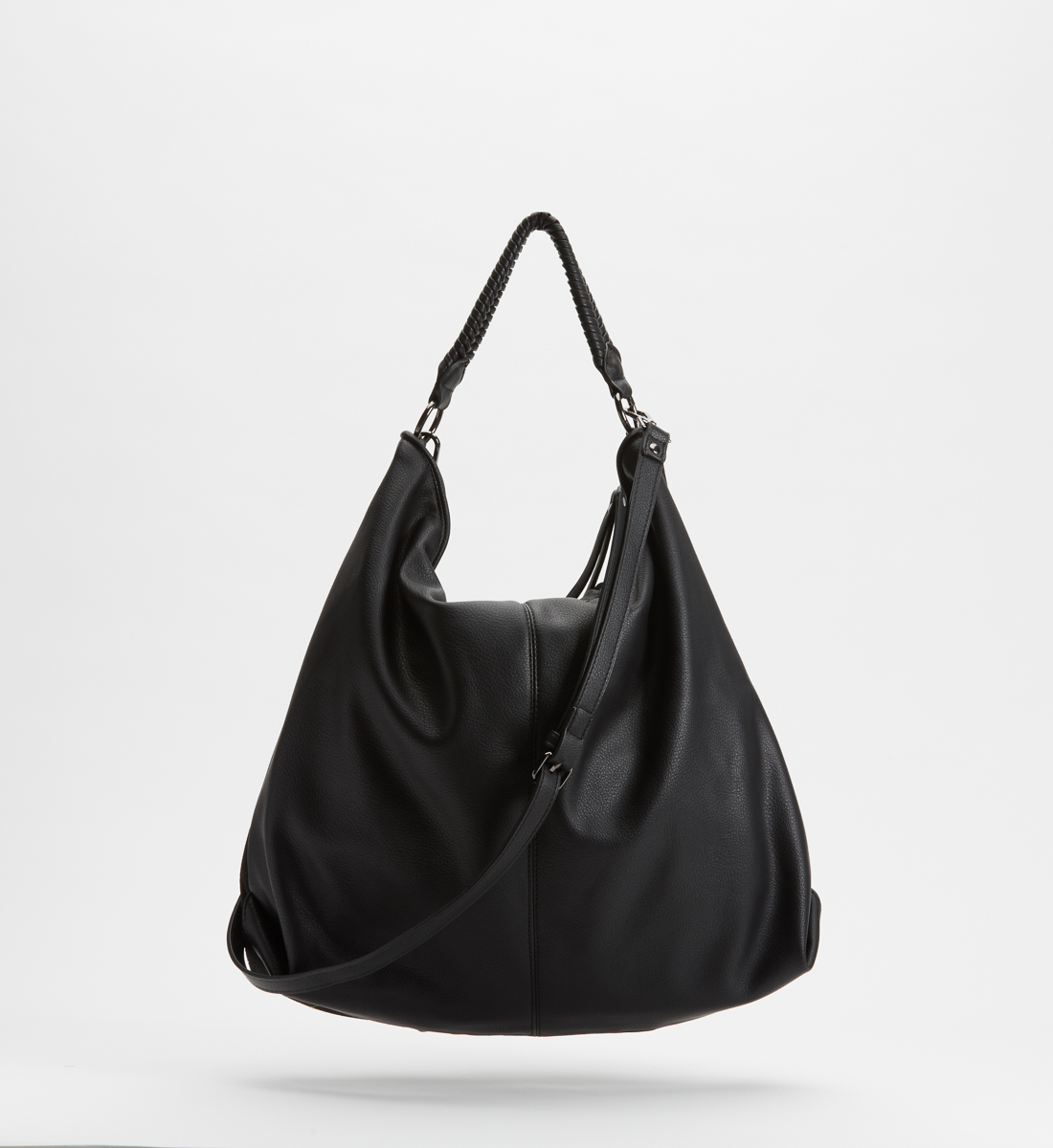 Mixed-Material Hobo Bag,Black Front