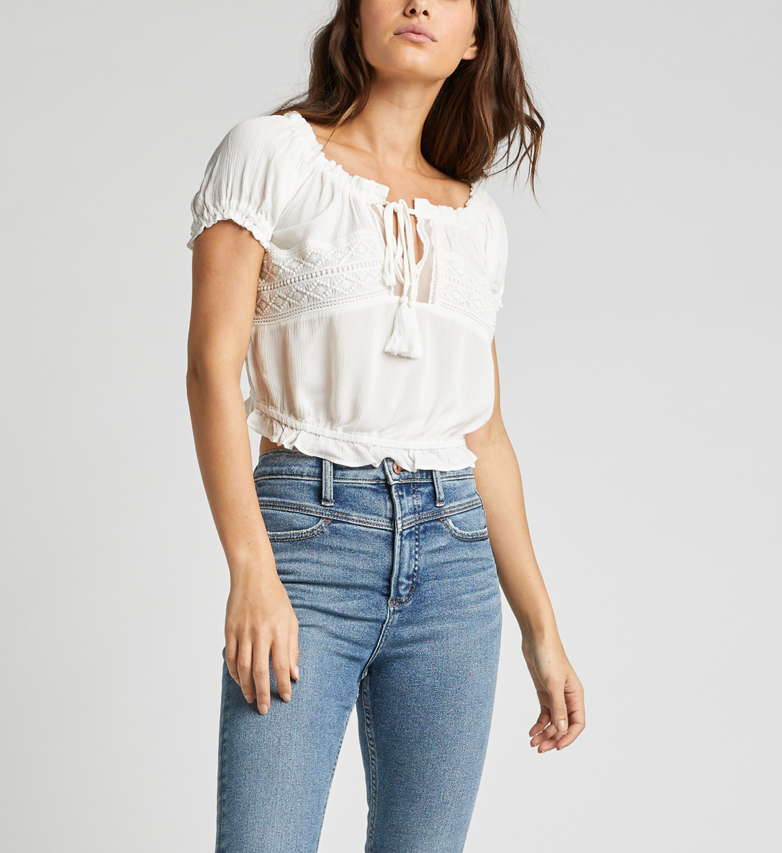 Stacey Off-The-Shoulder Crop Top,Off White Front