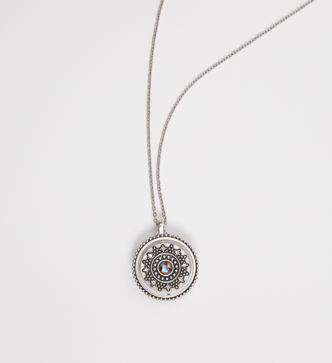 Silver-Tone Spinner Pendant Necklace,Silver Side