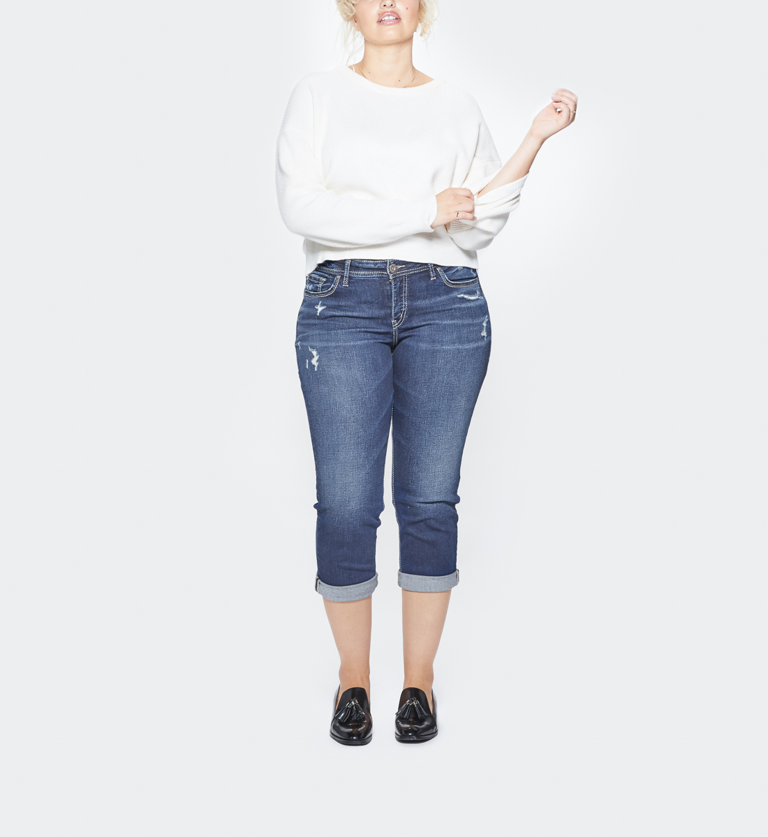 Suki Plus Size Capri Dark Wash Front