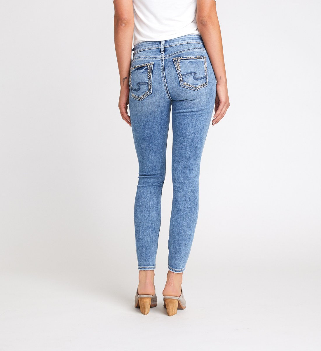 Elyse Mid Rise Skinny Jeans Back