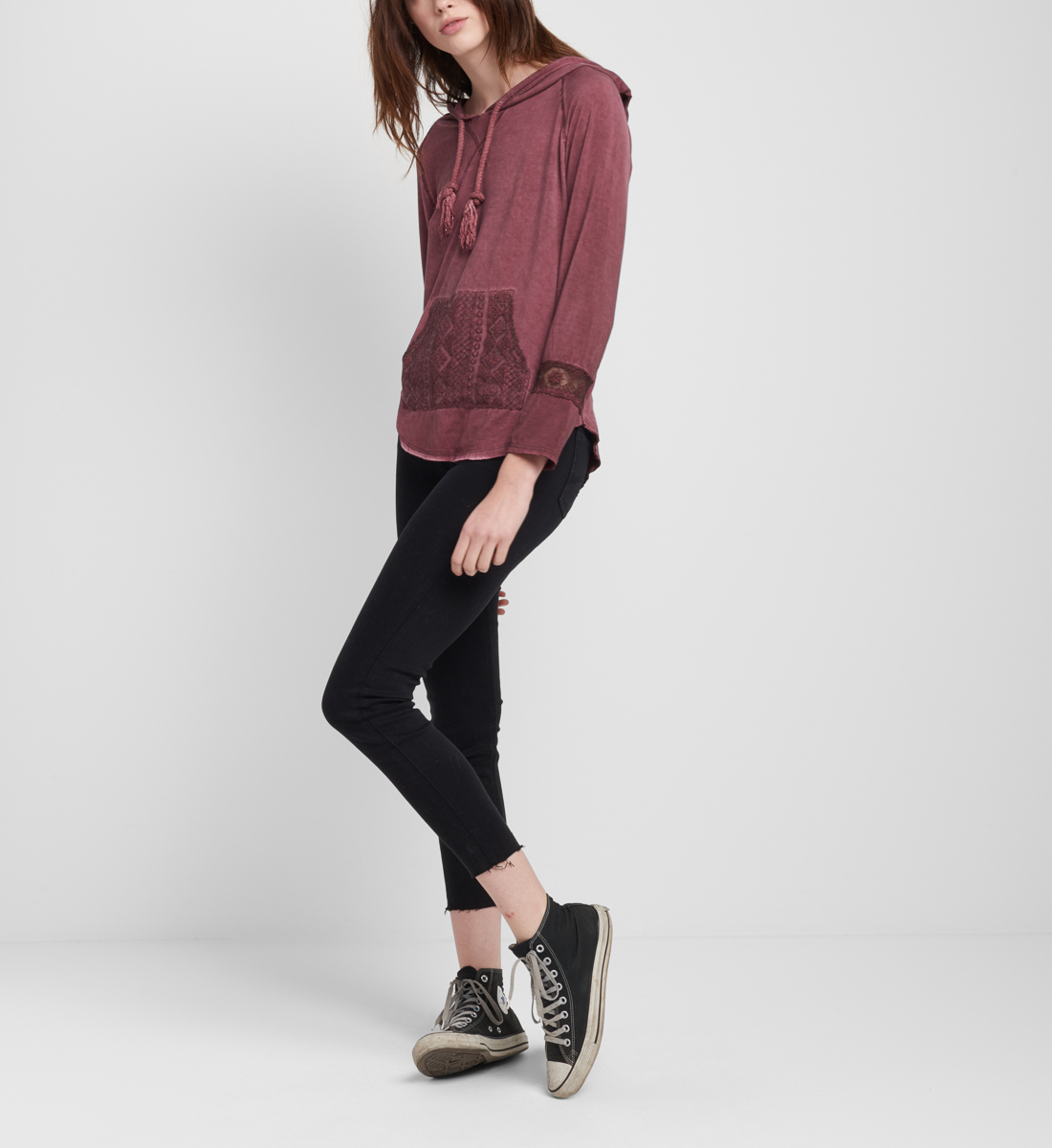 Phoebee Lace-Pocket Hoodie Side