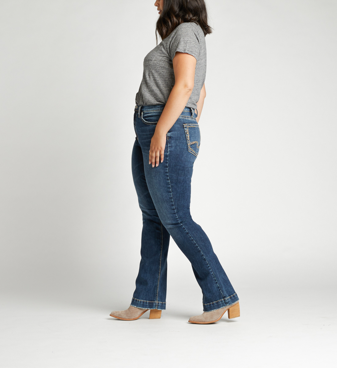 Calley Super High Rise Bootcut Plus Size Jeans Side