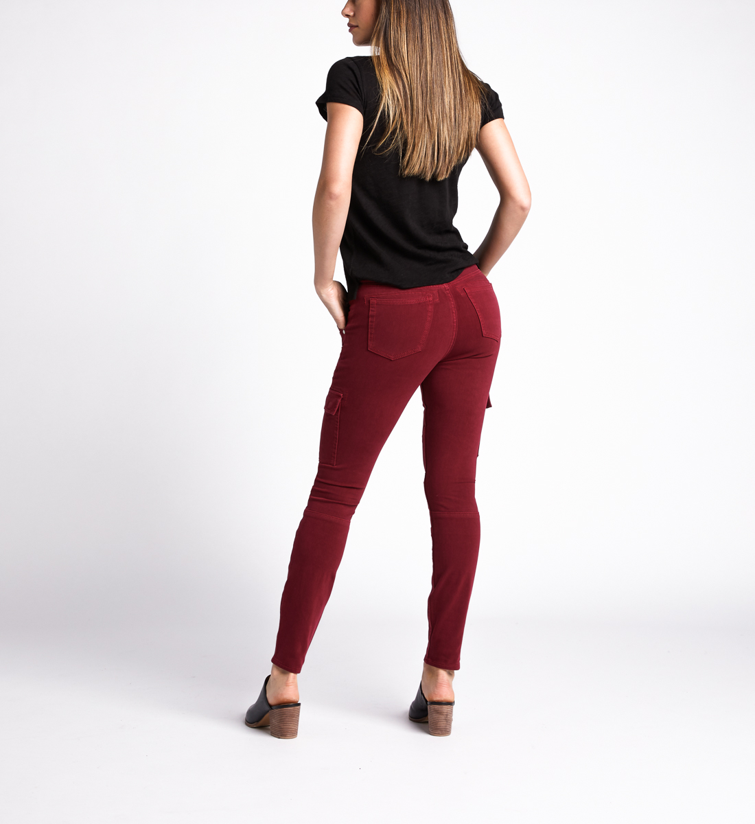 Cargo Mid Rise Skinny Leg Jeans,Red Back
