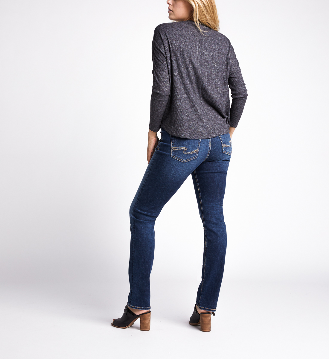 Amelia Button-Front Top,Charcoal Side