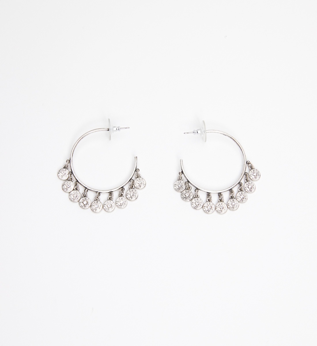 Gold-Tone Disc Hoop Earrings, , hi-res