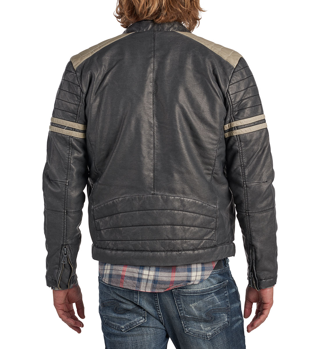Bruno Faux-Leather Racing Jacket Back