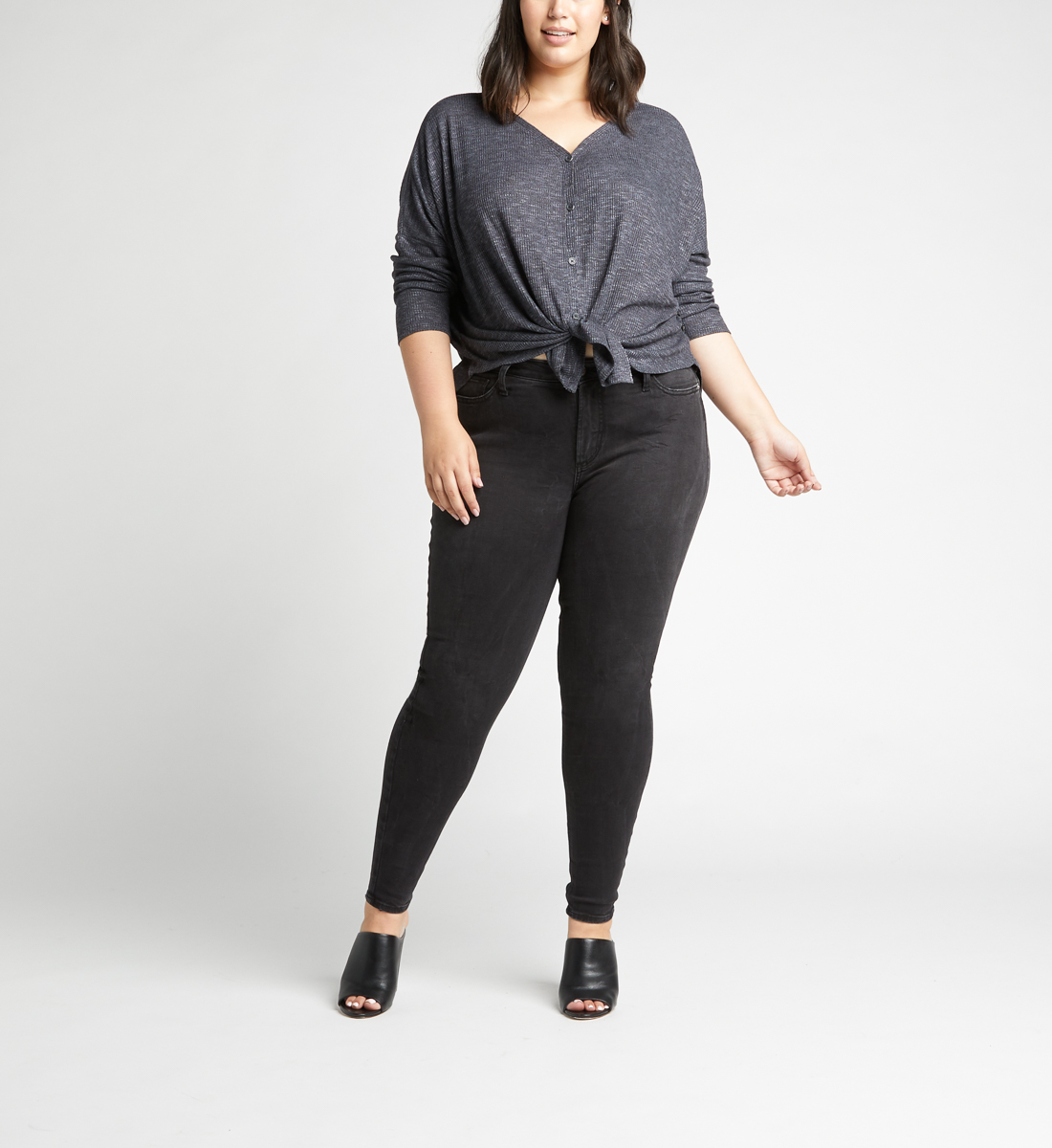 Amelia Button-Front Top Plus Size,Charcoal Back