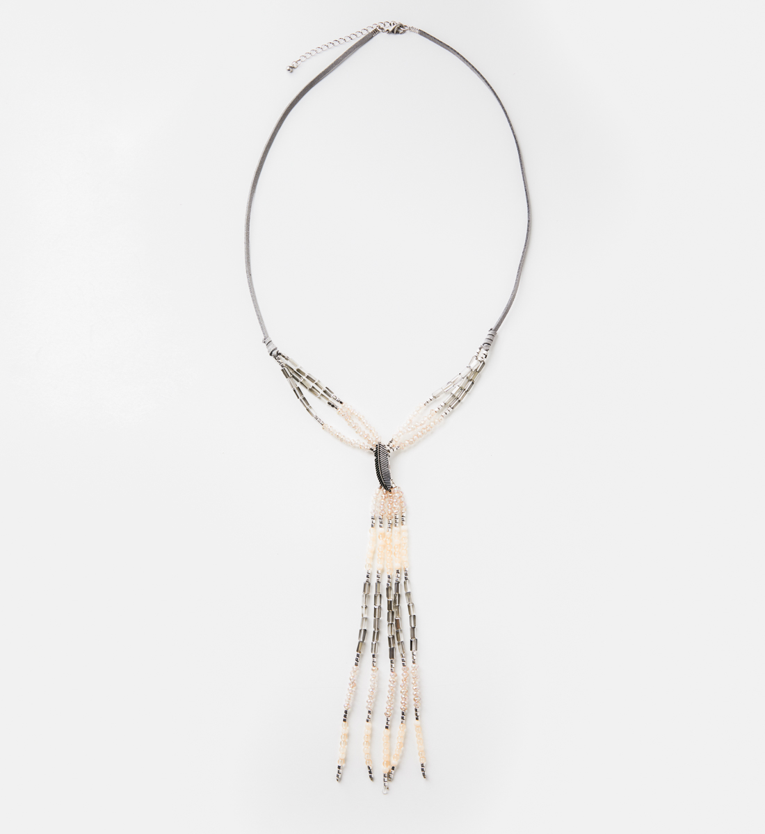 Suede Beaded Tassel Y Necklace, , hi-res