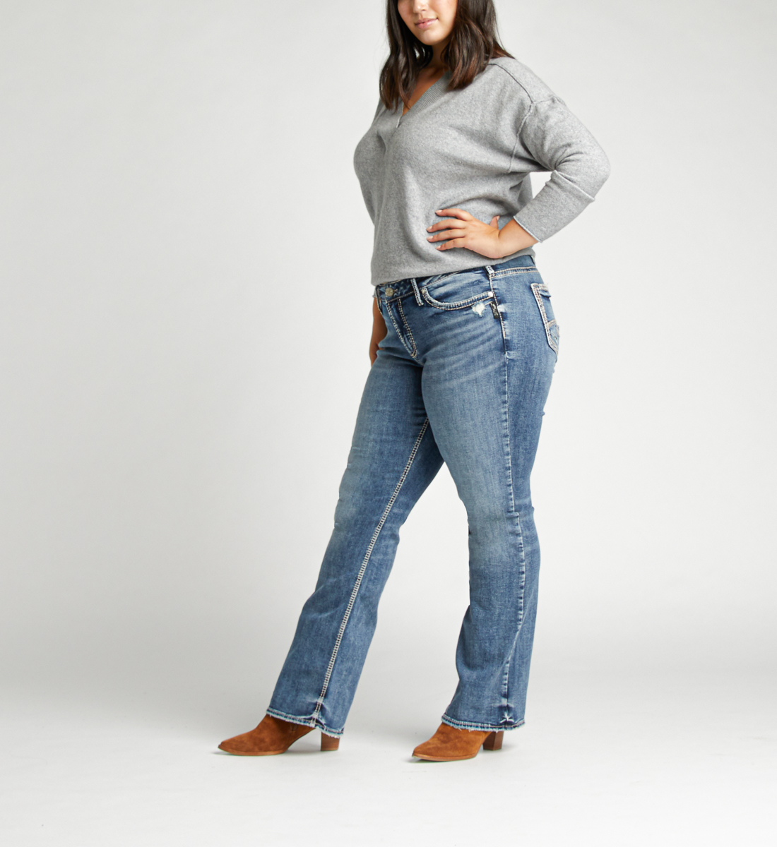 Elyse Mid Rise Bootcut Plus Size Jeans Side