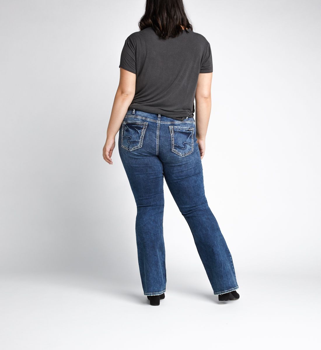 Elyse Mid Rise Bootcut Jeans Plus Size Back