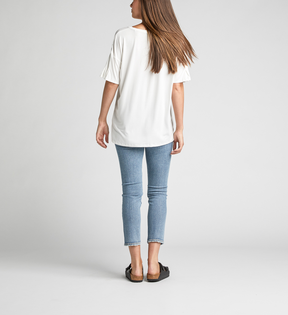 Alice Pleated-Sleeve Tee,Warm White Side
