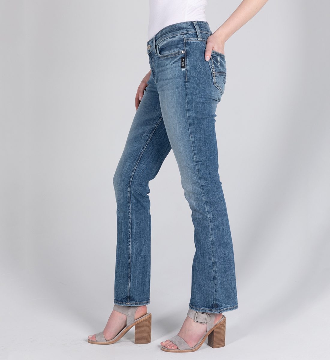 Elyse Mid Rise Slim Bootcut Jeans Side