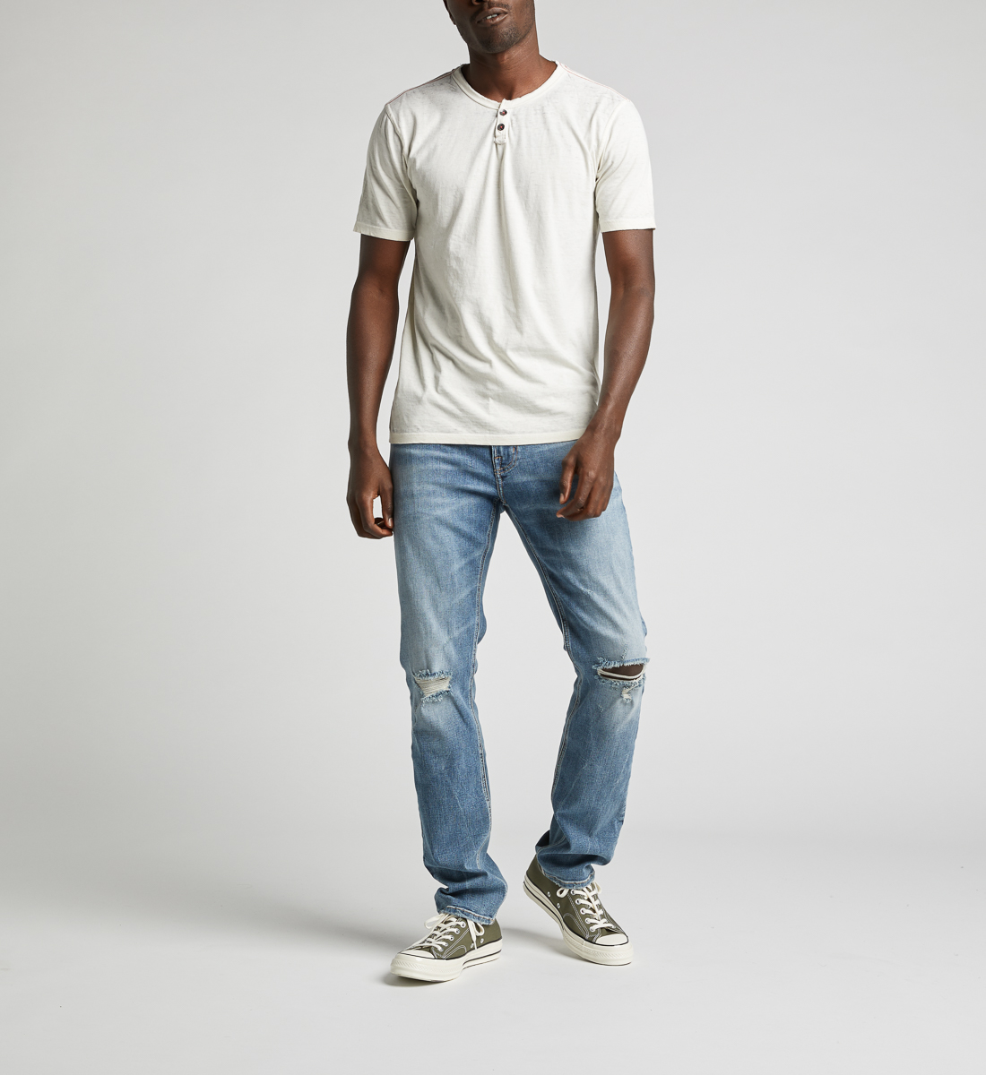 Kaleo Henley Tee,Warm White Back