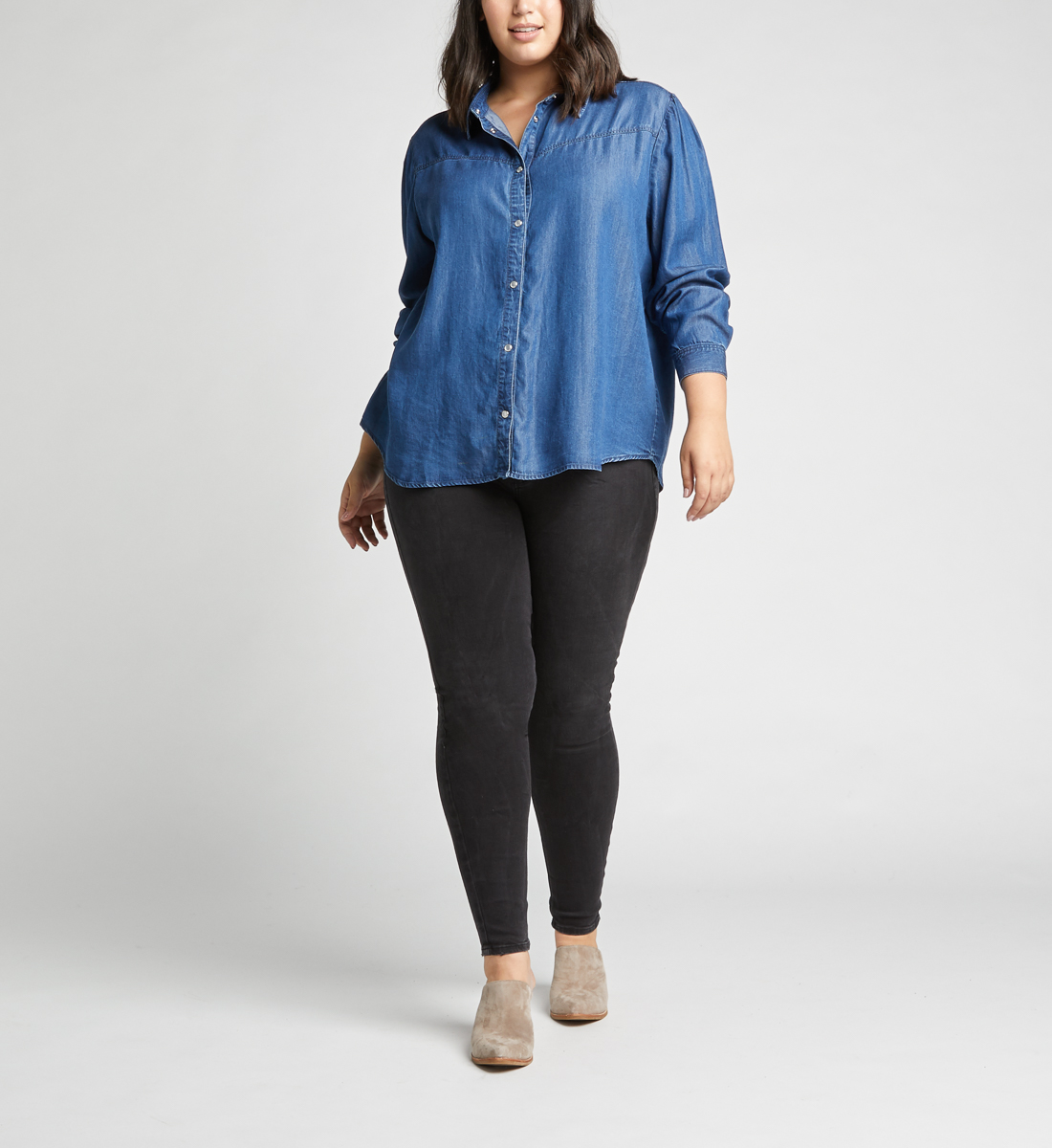 Saralyn Puff-Sleeve Denim Shirt,Indigo Back