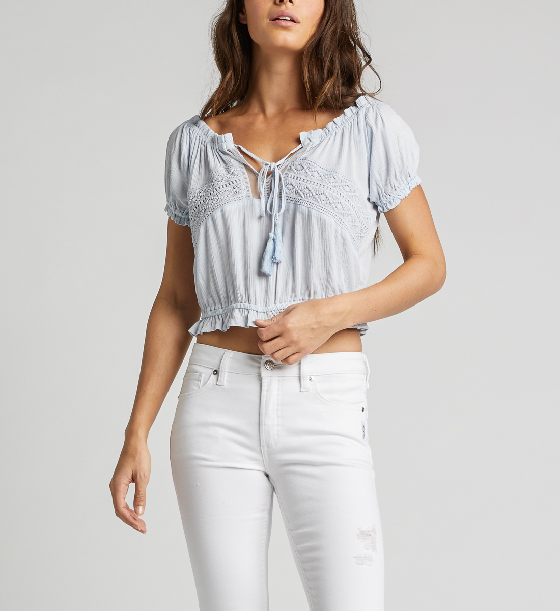 Stacey Off-The-Shoulder Crop Top,Blue Front