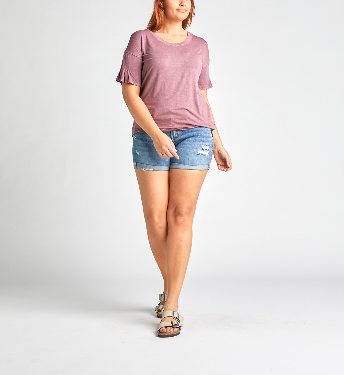 Alice Pleated-Sleeve Tee,Dark Rose Back
