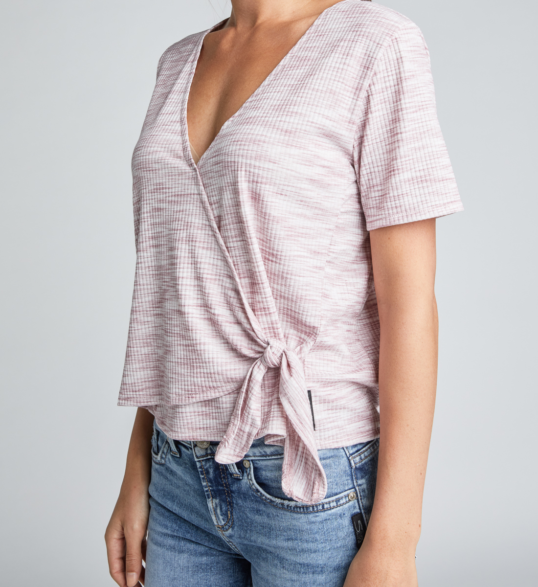 Adrea Side-Tie Space-Dyed Wrap Tee,Dark Rose Front