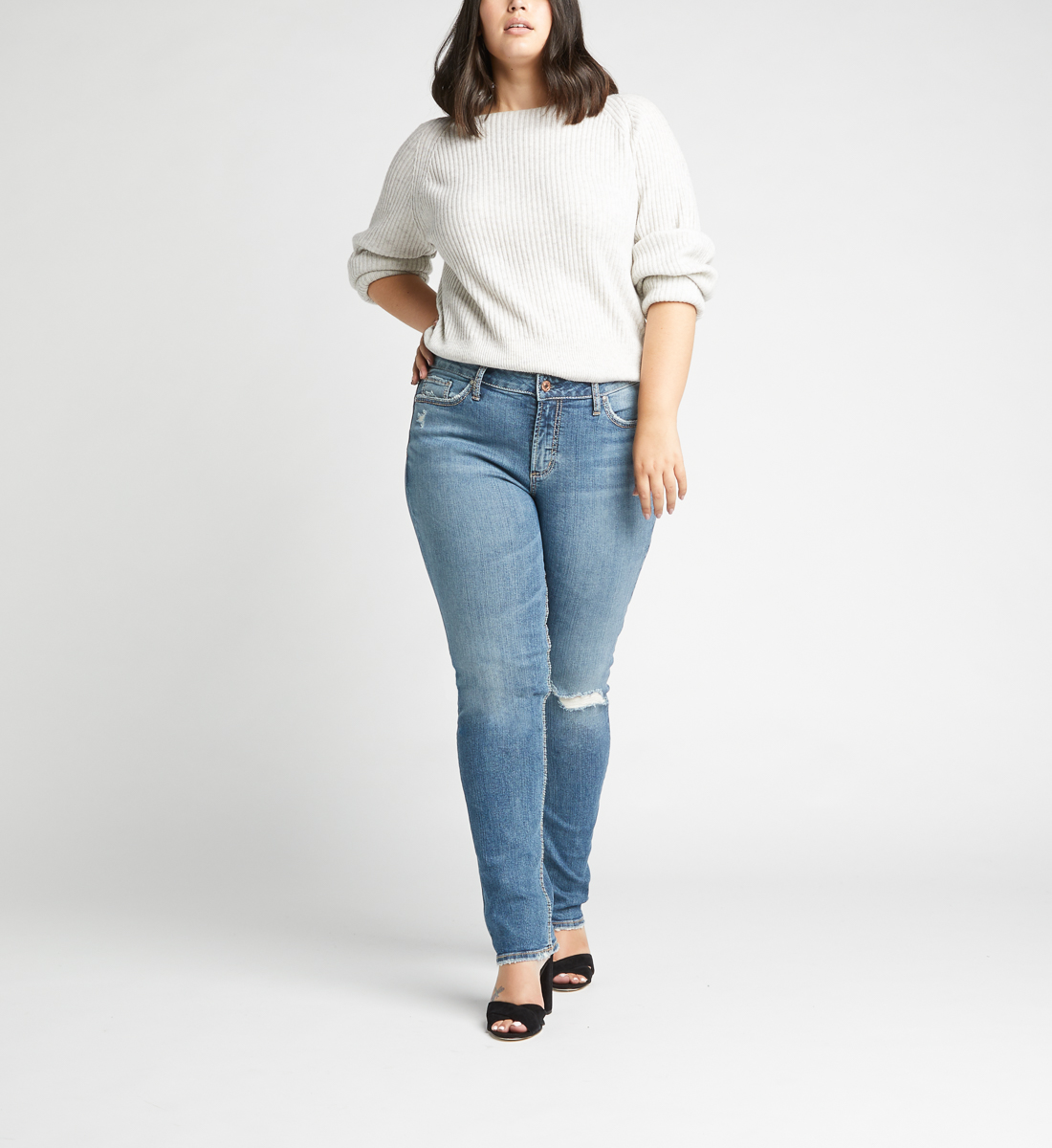 Avery High Rise Slim Leg Jeans Plus Size,Indigo Front