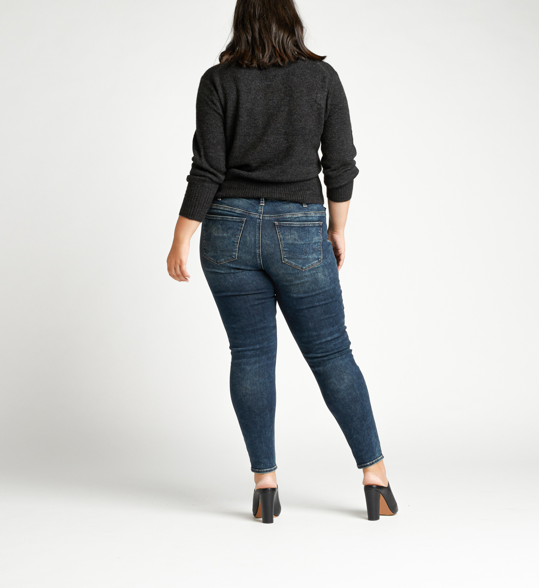 Elyse Mid Rise Skinny Plus Size Jeans Back