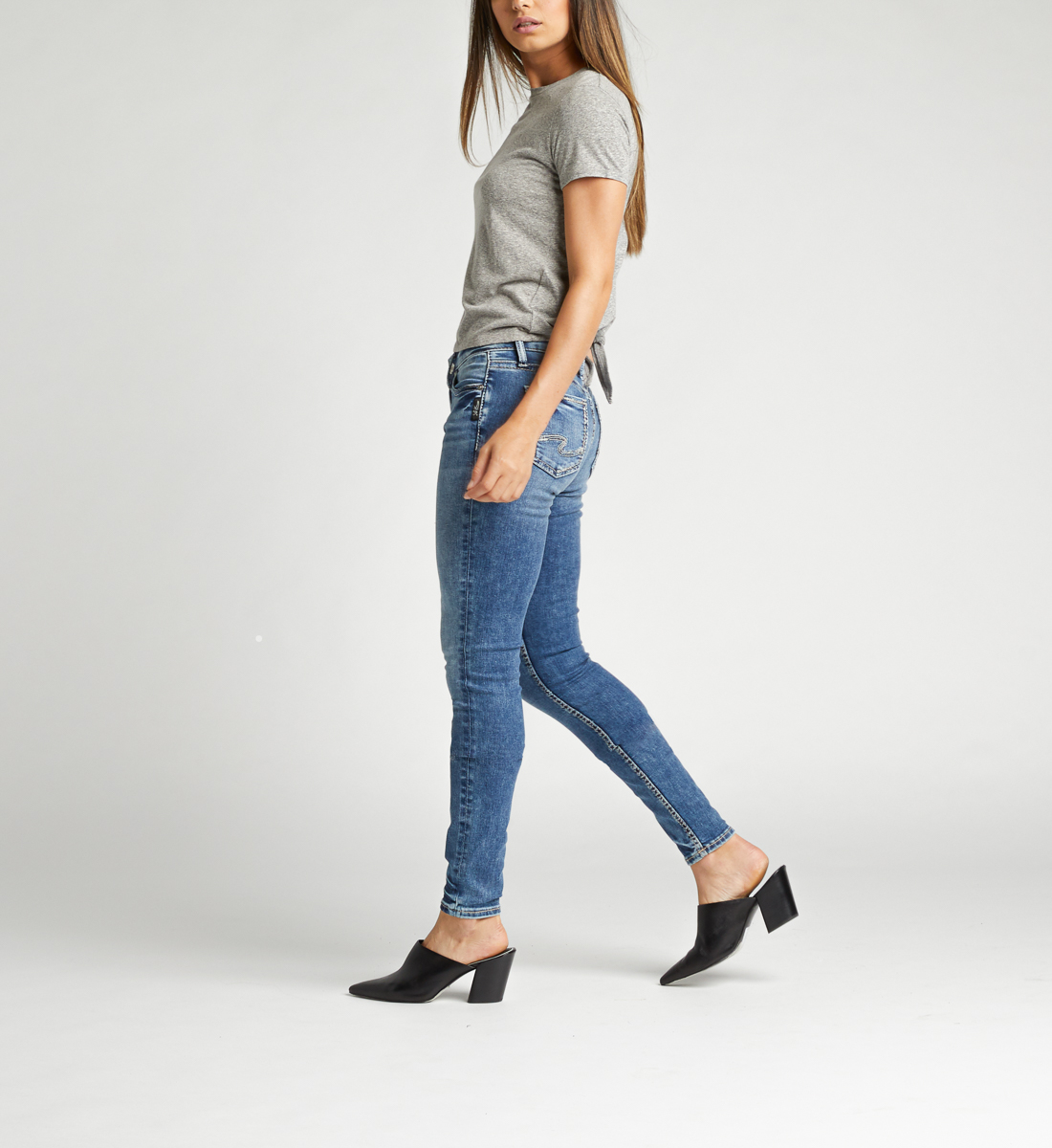 Suki Mid Rise Skinny Jeans Side