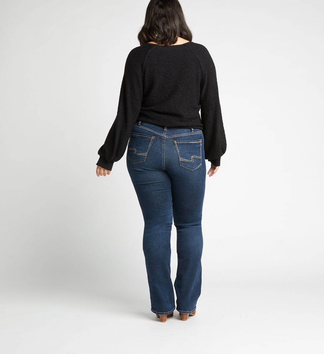 Calley High Rise Slim Bootcut Jeans Plus Size,Indigo Back