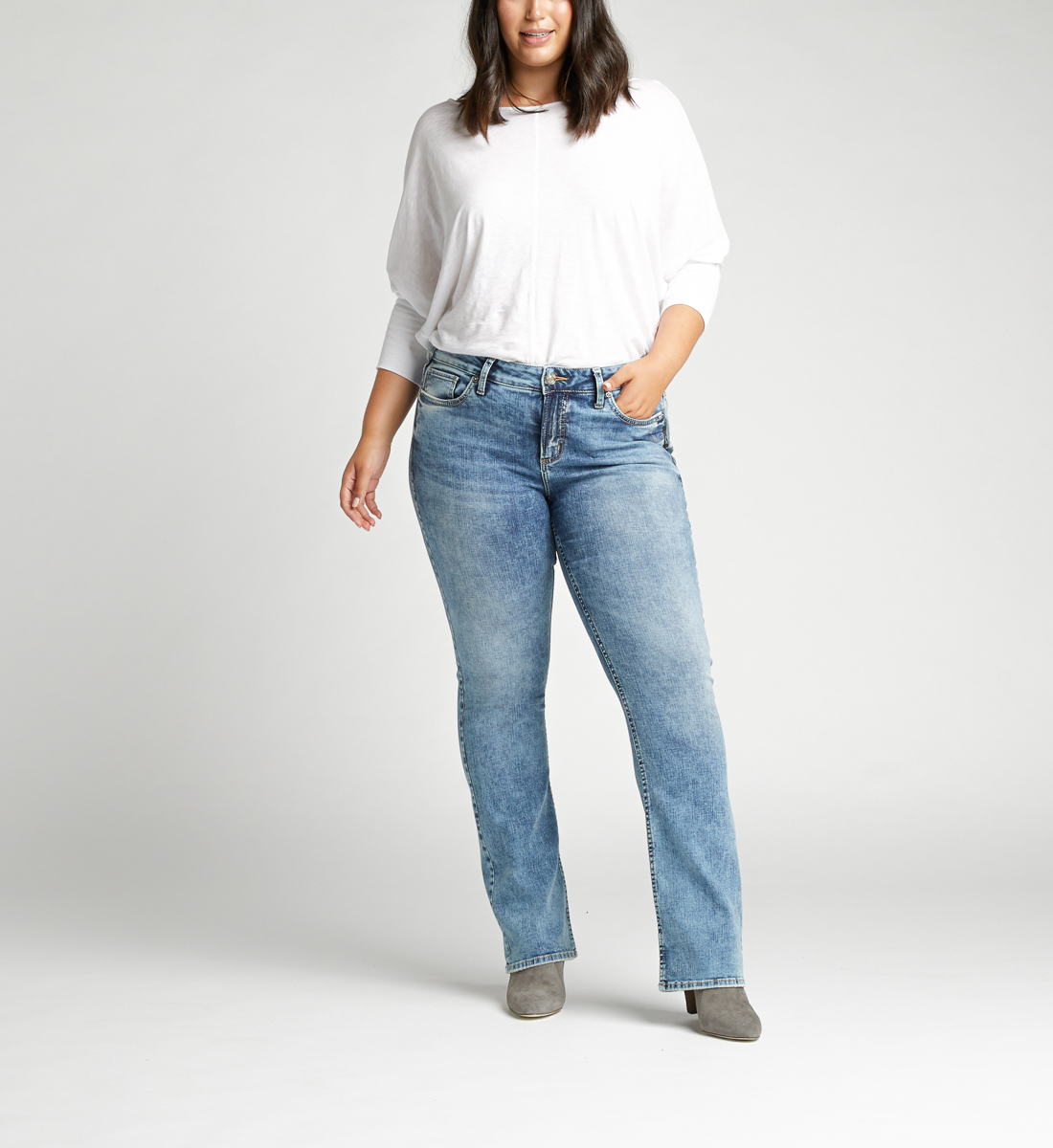 Elyse Mid Rise Slim Bootcut Jeans Plus Size Front