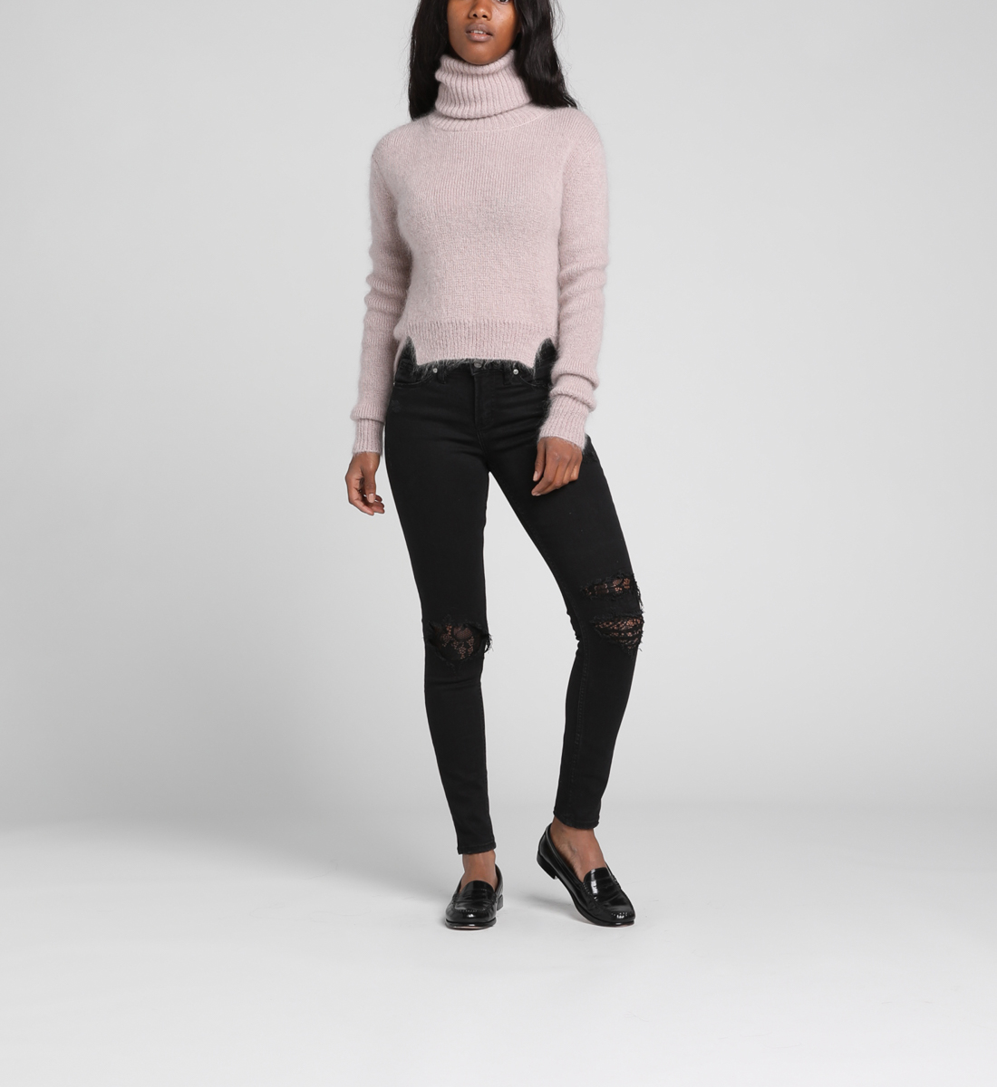 Aiko Mid-Rise Skinny Lace Jeans, , hi-res