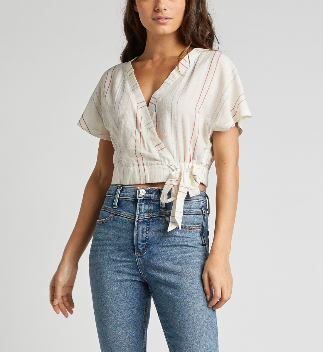 Shyla Striped Wrap Crop Top Front
