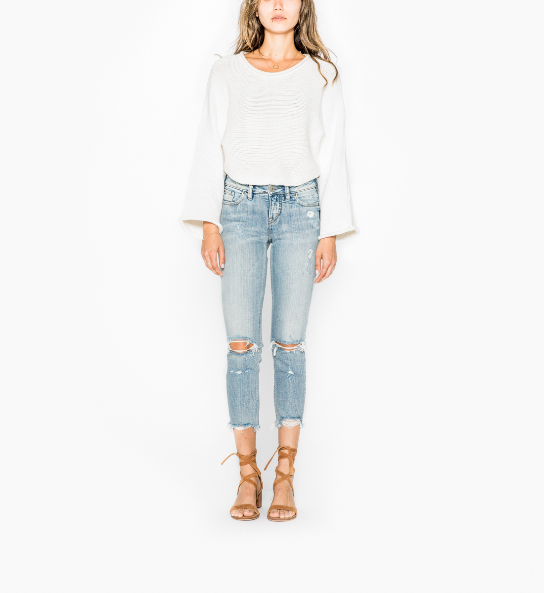Aiko Slim Crop Light Wash, , hi-res