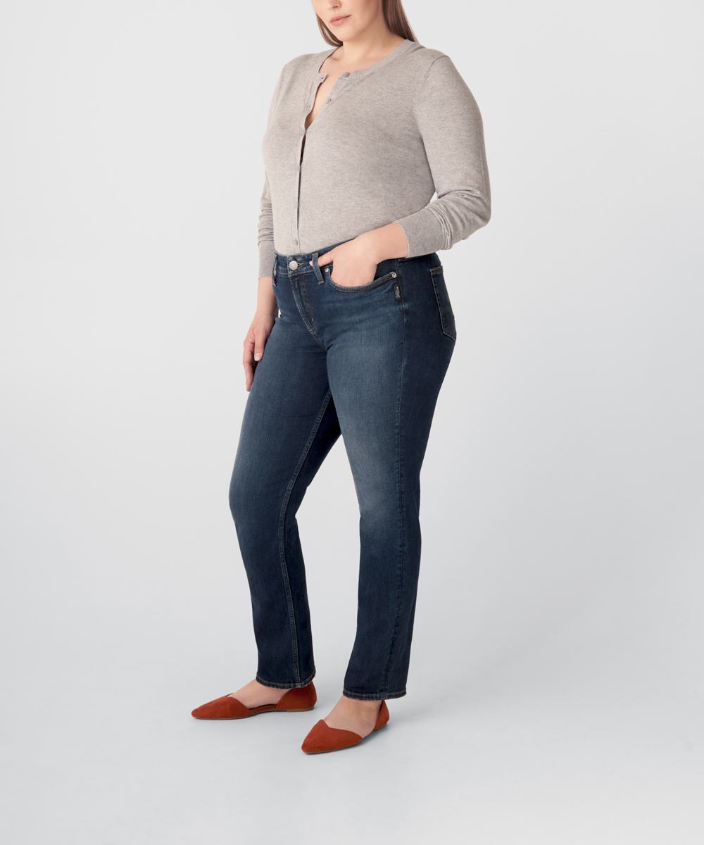 Avery High Rise Straight Leg Jeans Plus Size - Eco-Friendly Wash Side
