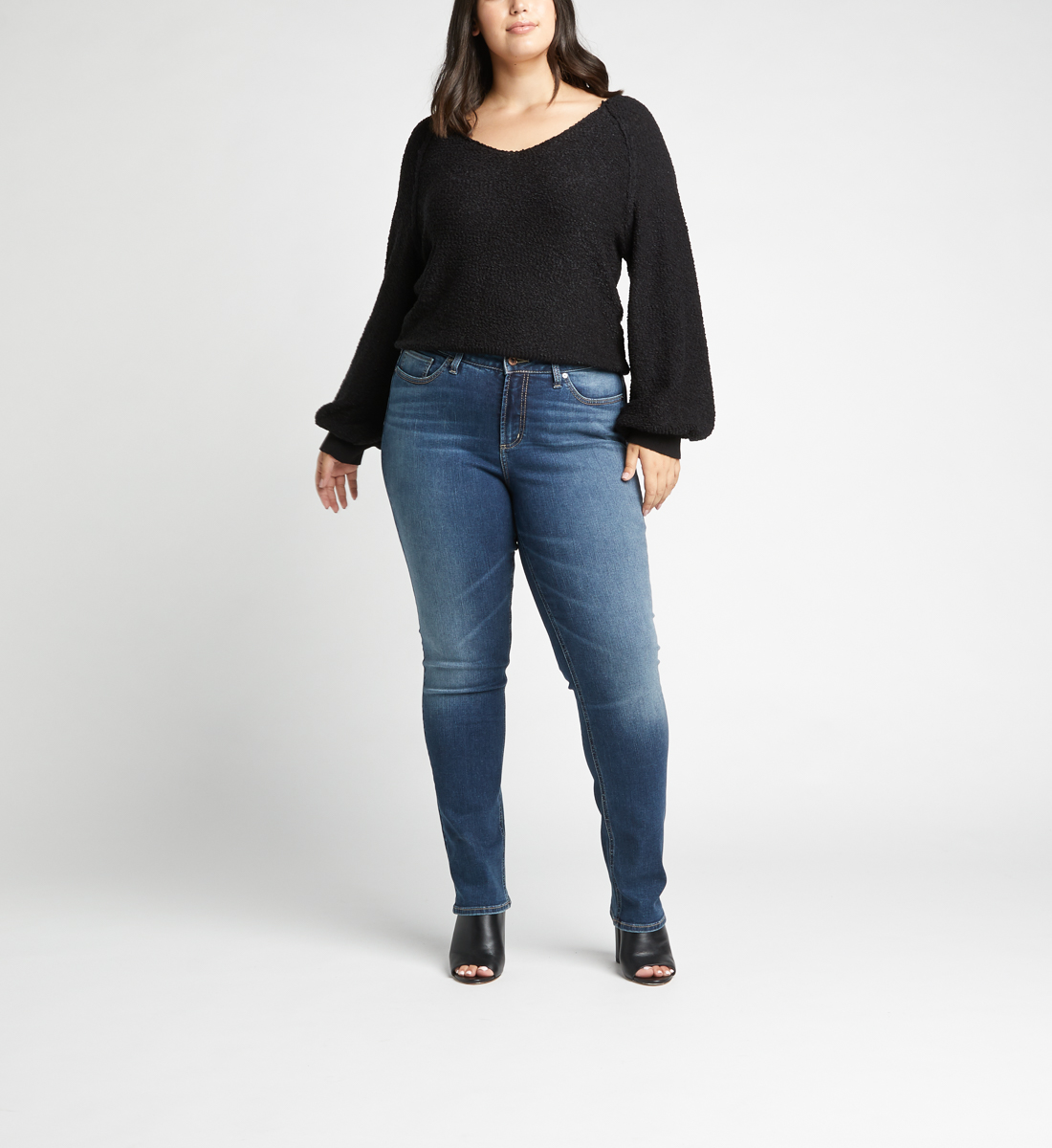 Avery High Rise Straight Jeans Plus Size,Indigo Front