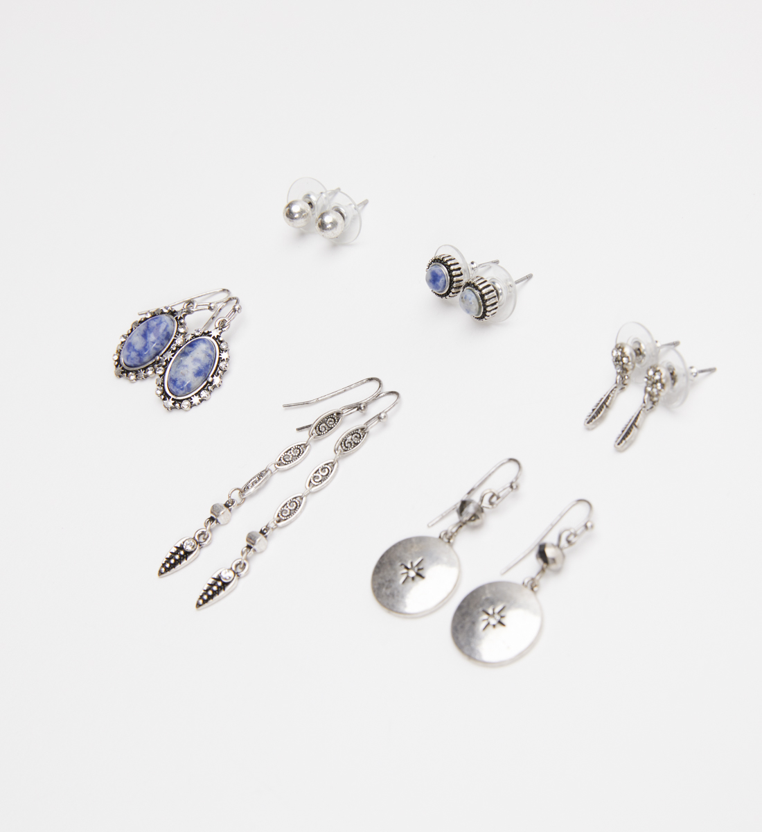 Silver-Tone and Blue Earring Set, , hi-res