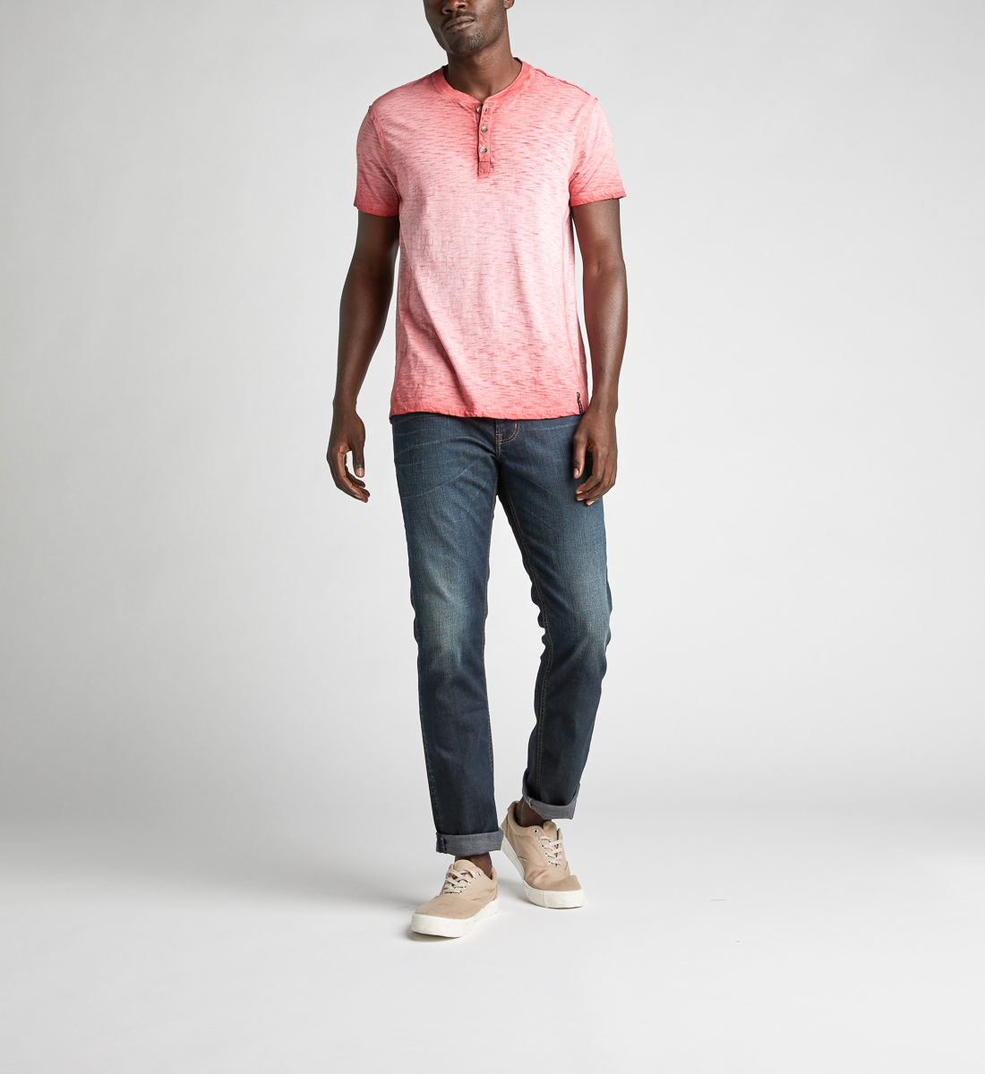 Koby Short-Sleeve Henley, Red, hi-res