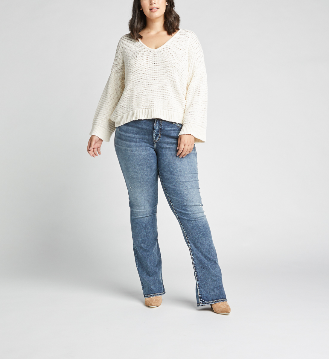 Elyse Mid Rise Slim Bootcut Plus Size Jeans Front