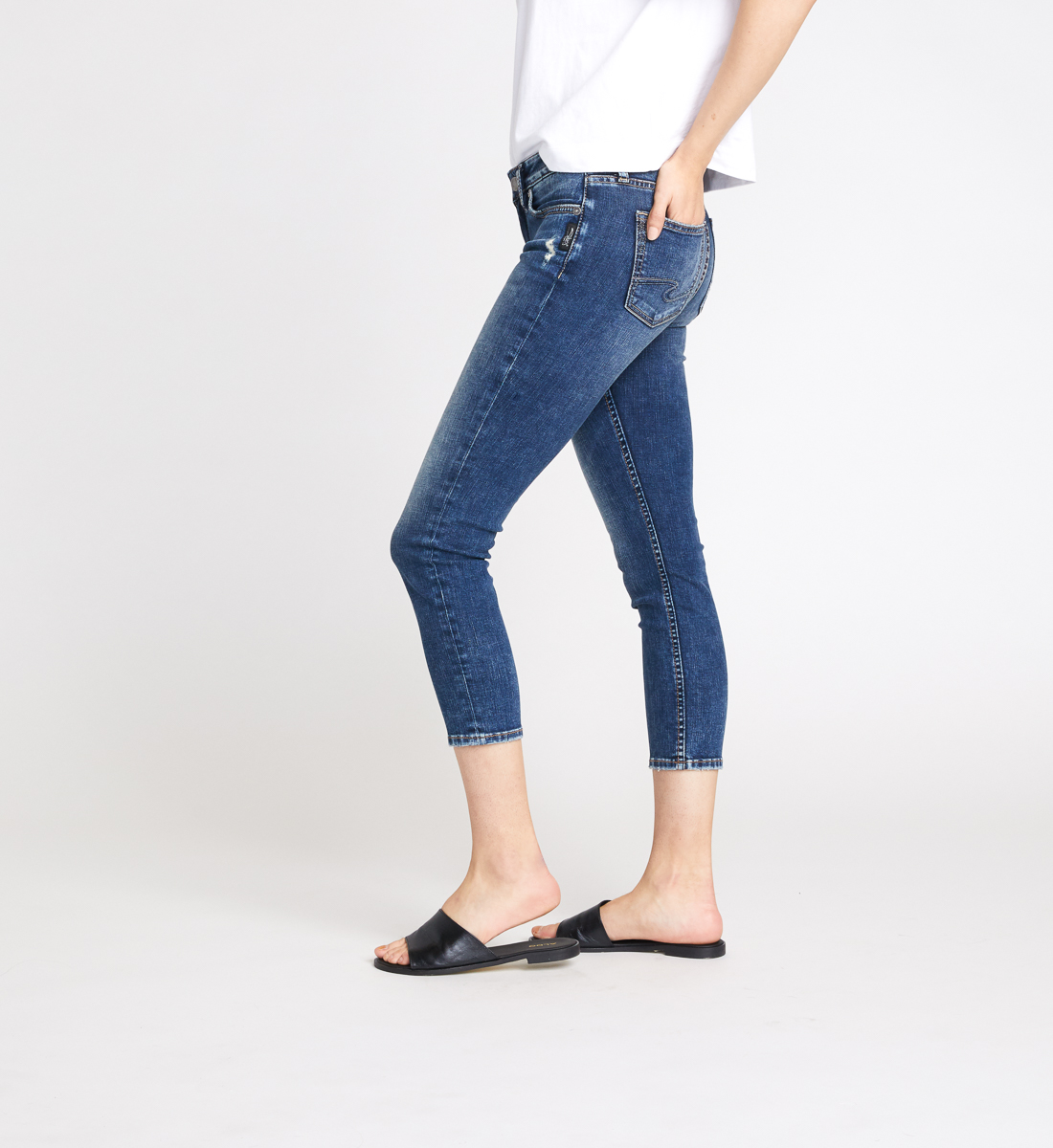 Elyse Mid Rise Slim Crop Jeans Side