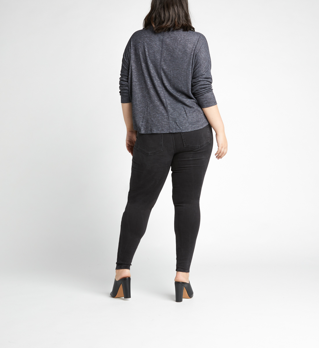 Amelia Button-Front Top Plus Size,Charcoal Side