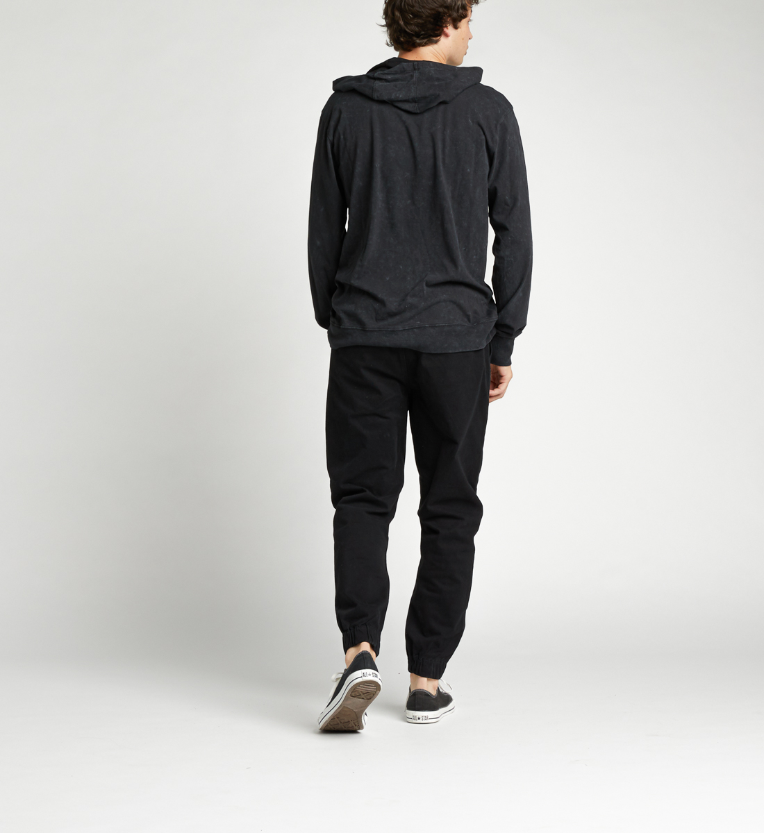 Kael Long-Sleeve Hoodie,Black Side