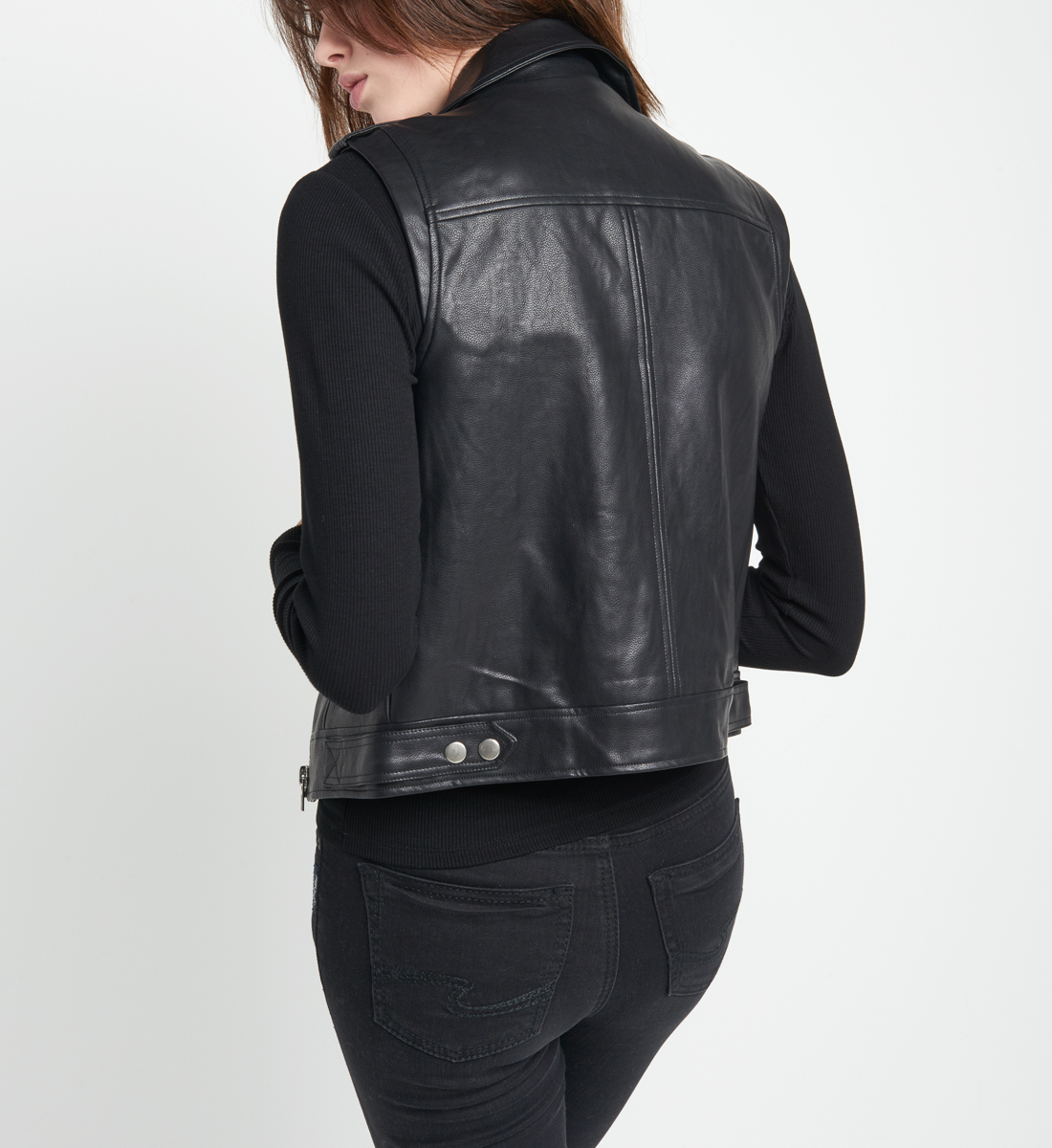 Alex Faux-Leather Vest Side