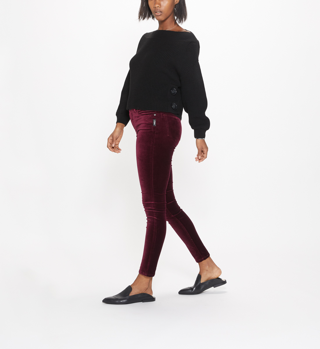 Aiko Mid Rise Skinny Leg Pants Final Sale,Cherry Side