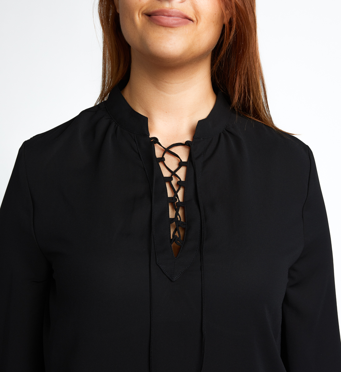 Eloise Lace-Up Blouse, Black, hi-res