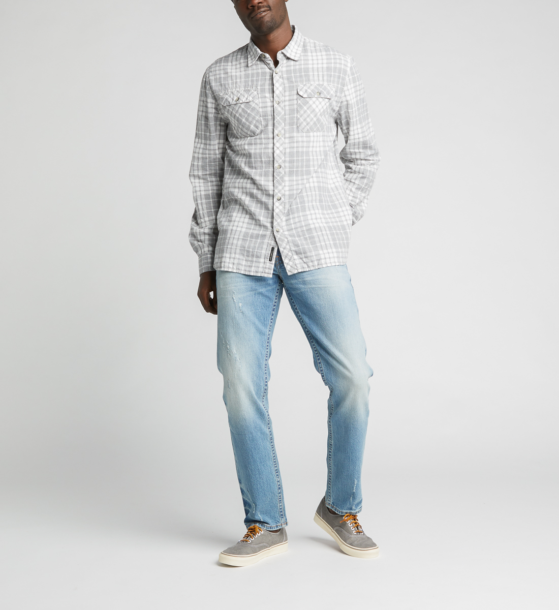 Charly Long-Sleeve Plaid Button-Down Shirt,Grey Back
