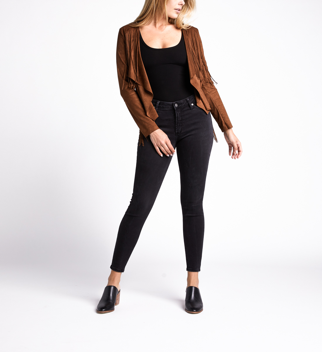 Most Wanted Mid Rise Skinny Leg Jeans,Black Front