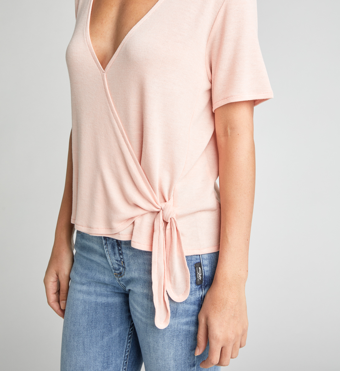 Adriel Side-Tie Wrap Tee,Light Rose Side