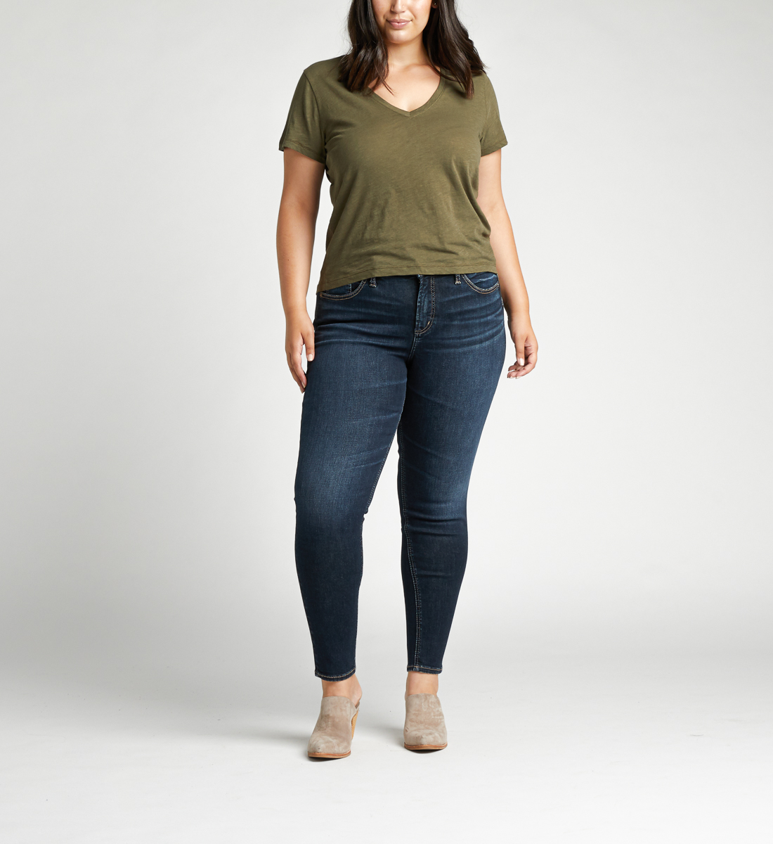 Avery High Rise Skinny Plus Size Jeans Front