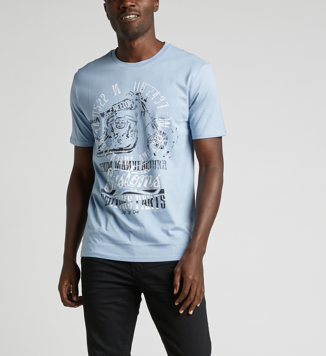 Dalian Graphic Tee,Light Blue Front