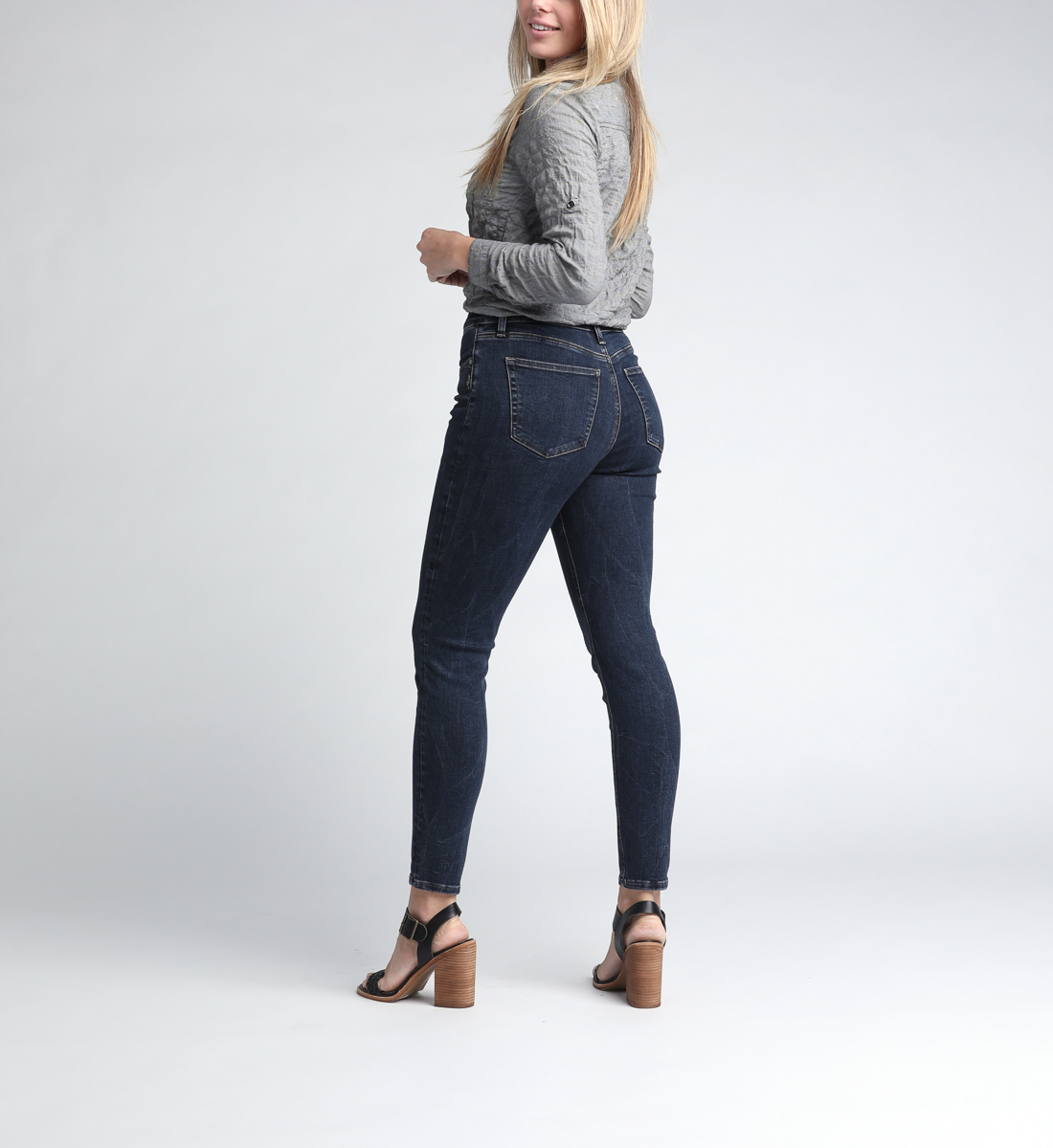 Calley Super High Rise Skinny Leg Jeans Back