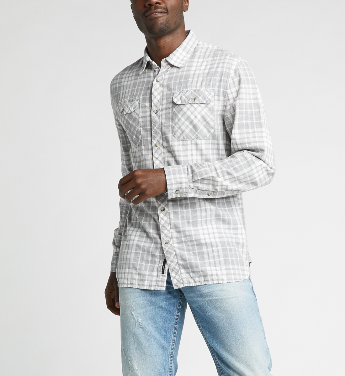 Charly Long-Sleeve Plaid Button-Down Shirt,Grey Front
