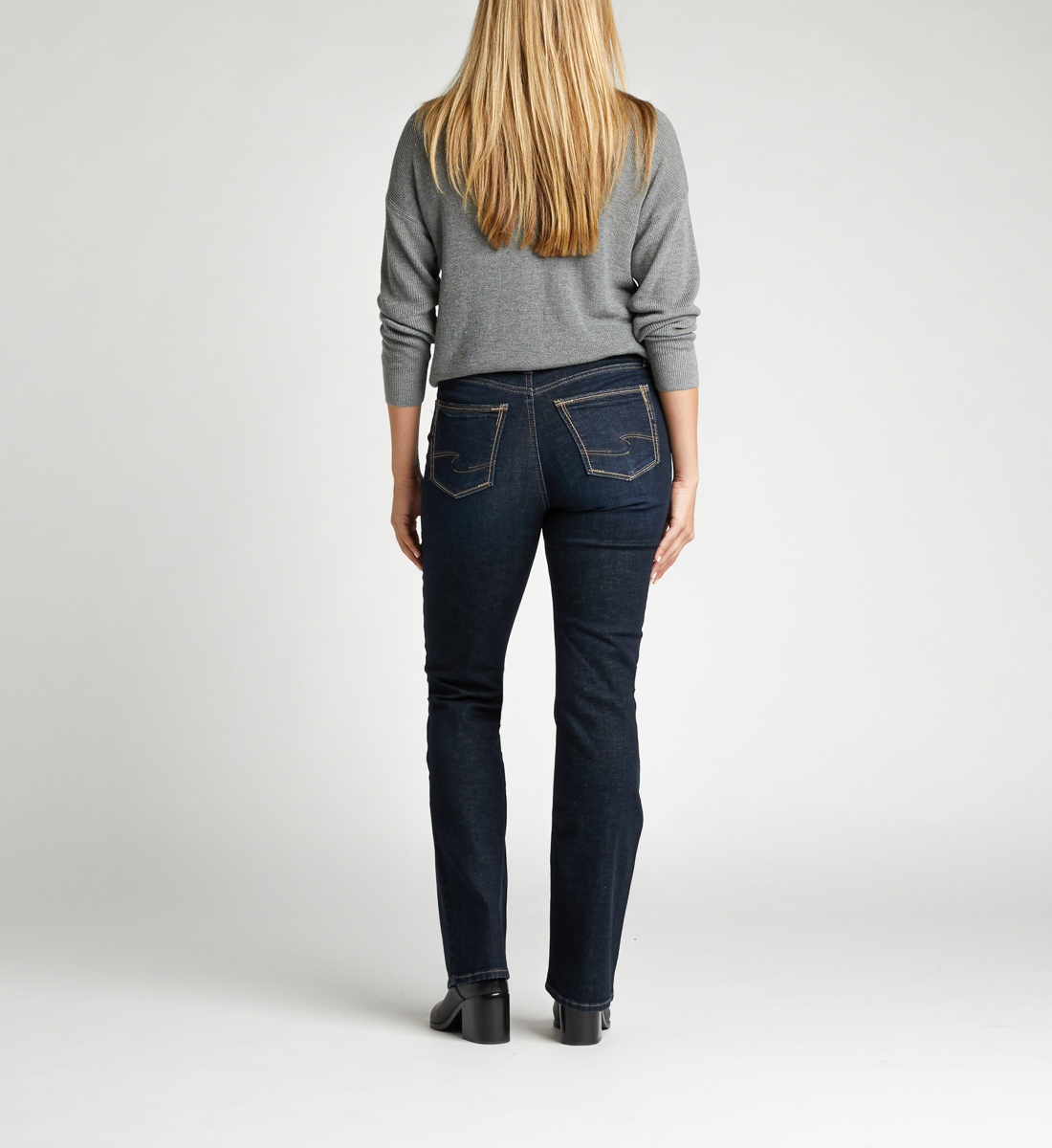 Calley Super High Rise Slim Bootcut Jeans Back