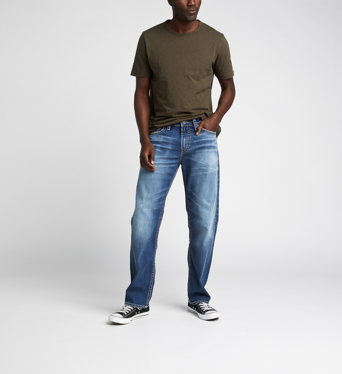 Hunter Athletic Fit Tapered Leg Jeans,Indigo Front